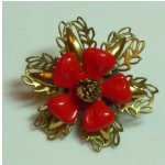 Brooch with Vintage Plastic Components and Brass Filligree