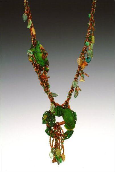 Rainforest Beaded Necklace with Carved Tagua Nut Parrot